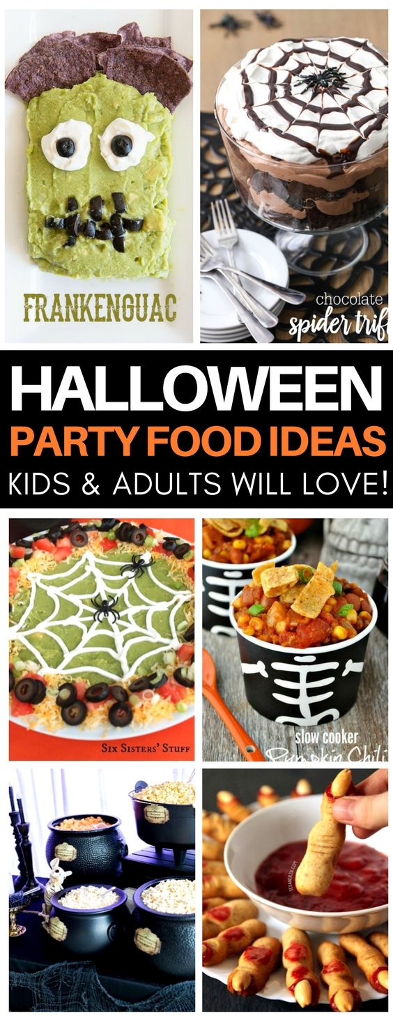 These are SO creative halloween party food ideas that are kid-friendly! Obsessed with the Frankenguac and spider web trifle - must make! They've got the best ideas for halloween desserts, appetizers, and drinks.