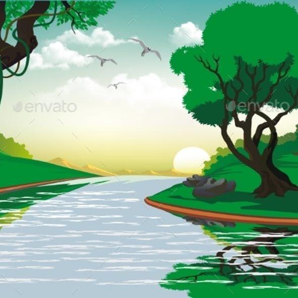 Landscape Sunrise Over The Forest River Landschaft