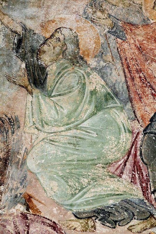 Сошествие во ад. Фреска церкви Святой Троицы в монастыре Сопочаны, Сербия. XIII век. Фрагмент - Праотец Адам.