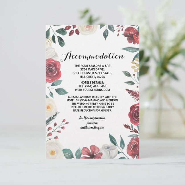 Wedding Accommodation Cards Red Floral Foliage Zazzle Com Wedding Reception Cards Reception Card Wedding Accommodations