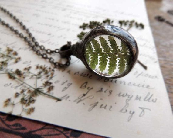 woodland necklace fern necklace terrarium necklace by MARIAELA