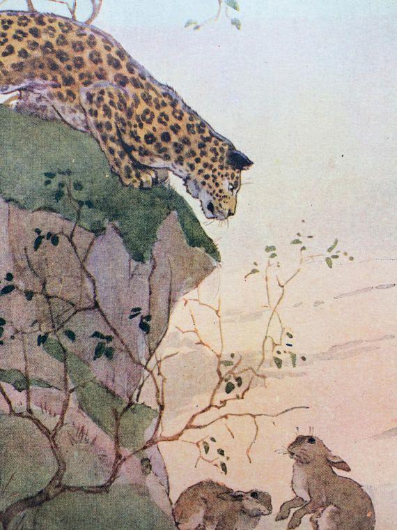 Libro per bambini vintage originali del leopardo di 1937 illustrazione animale da Margaret Tarrant - Nursery Decor - Zoo Scene - Leopard - conigli