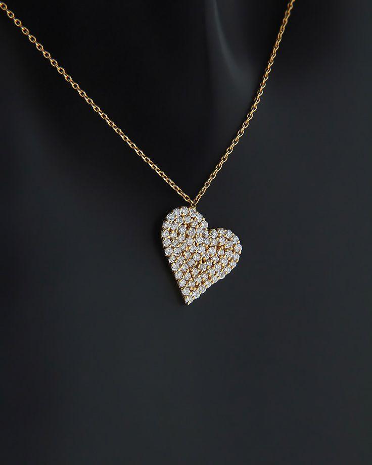 Κολιέ καρδιά ροζ χρυσό Κ18 με Διαμάντια