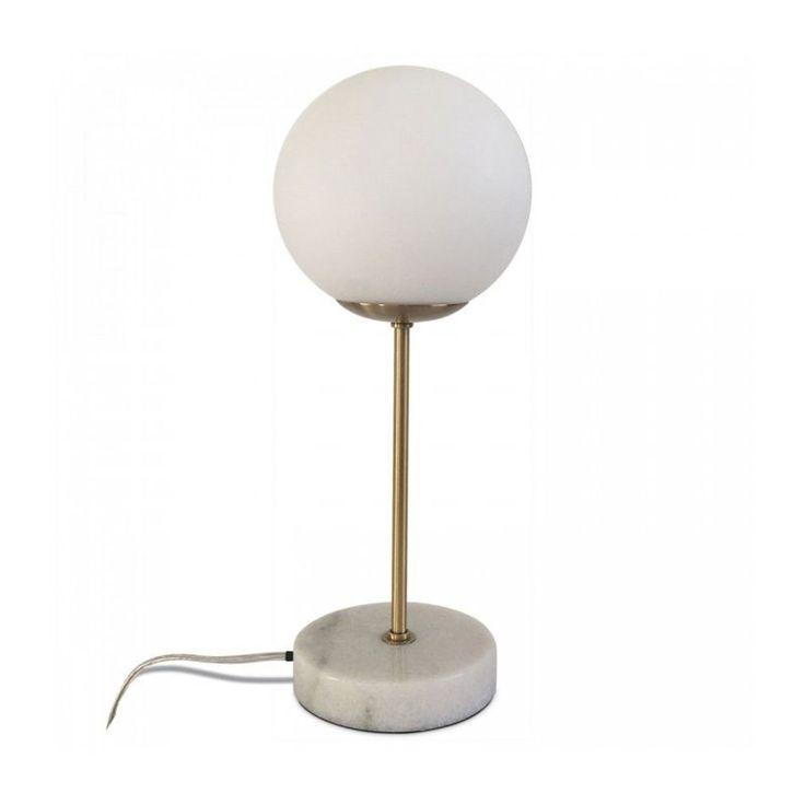 Lampe À Poser Rétro Droite En Marbre Blanc, Laiton Et Verre – Taille : Taille Unique