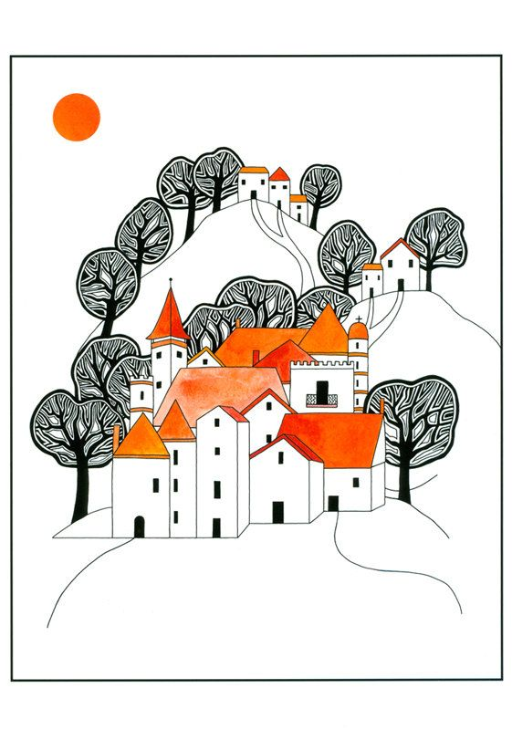 """10"""" x 8"""" Illustration Art Print Ink And Watercolour Drawing Hilltop Village Orange Black Graphic Art Trees Houses"""