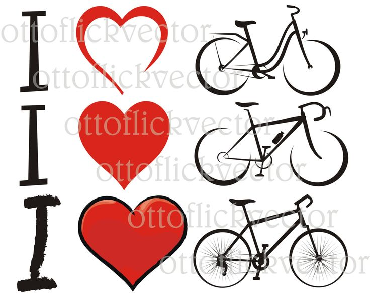 BICYCLE LOVERS CLIPART, vector silhouettes eps, ai, cdr, png, jpg, I love bike heart silhouettes, sport, leisure, recreation, fitness by ottoflickvector on Etsy