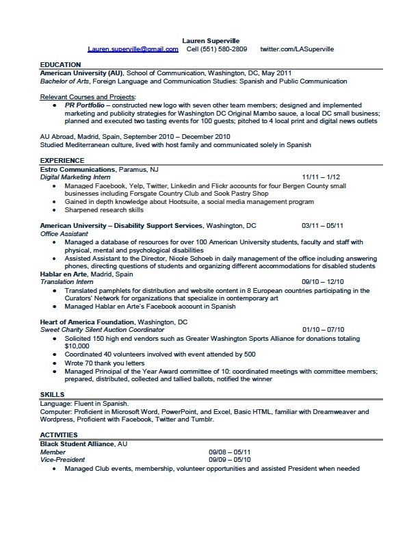 MY RESUME! I'm looking for an entrylevel position in pr