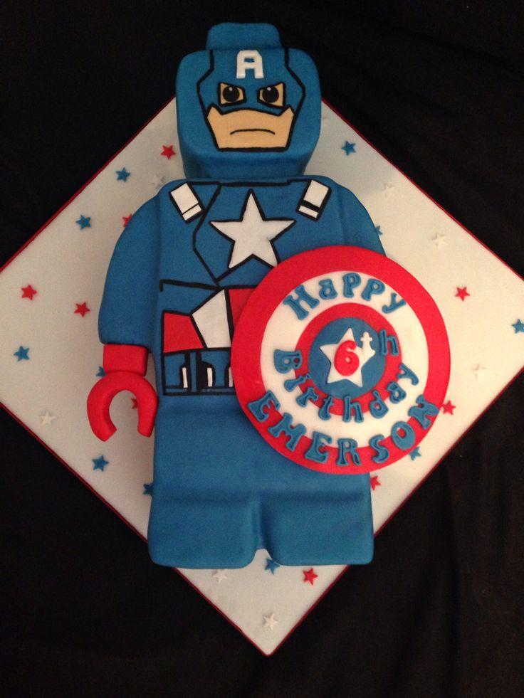Captain America Lego cake