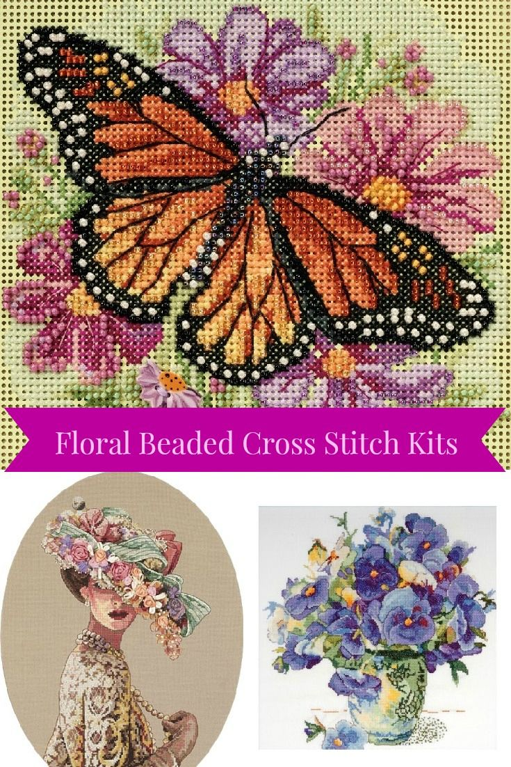 Discover Floral Beaded Cross Stitch kits. This tutorial shows how to add beads to cross stitch and turn a stunning project into a spectacular work of art.