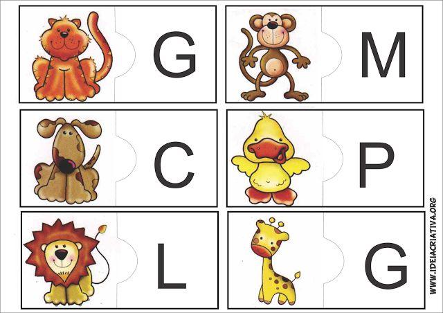 Jogo pedagógico com animais e letra inicial para imprimir