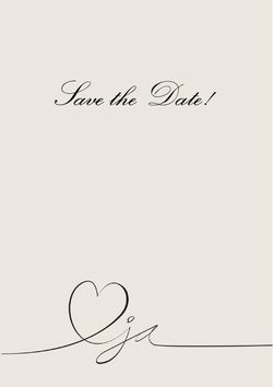 Vorderseite Hochzeitseinladung heart with ja in grey, save the date