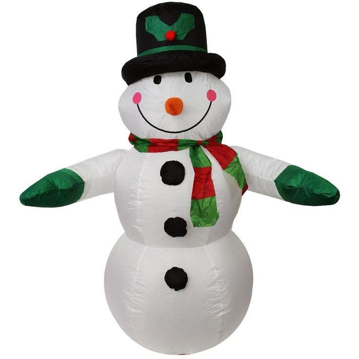 LB International 4' Inflatable Lighted Snowman with Top Hat Christmas Yard Art Decoration 32275078