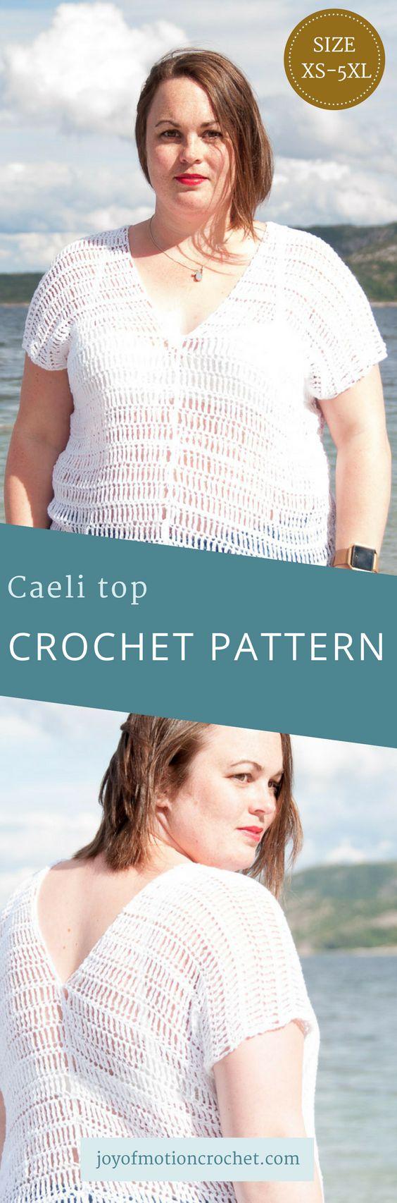 Caeli Top Crochet Pattern. Woman's crochet garment. Crochet Clothing. Summer Crochet Top. Crochet t-shirt. #crochettop #crochetclothing #crochet #crochetpattern #crochettshirt