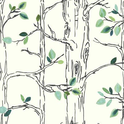 "York Wallcoverings Brothers and Sisters V Knock on Wood 33' x 20.5"" Botanical / Foliage Roll Wallpaper Color: White/Navy Blue/Teal/Green/Aqua"