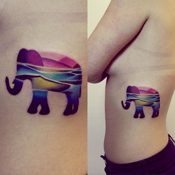 Vibrant colors on an elephant. Awesome