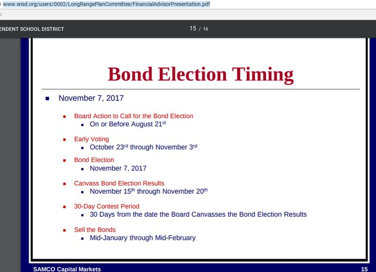 Texas Bond Election Timetable for 2017 November election cycle. Vote NO to any bonds in your city or school community.