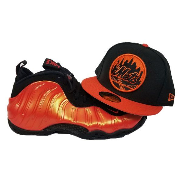efc078d6fa35df Matching New Era New York Mets Fitted Hat For Nike Foamposite Habanero Red