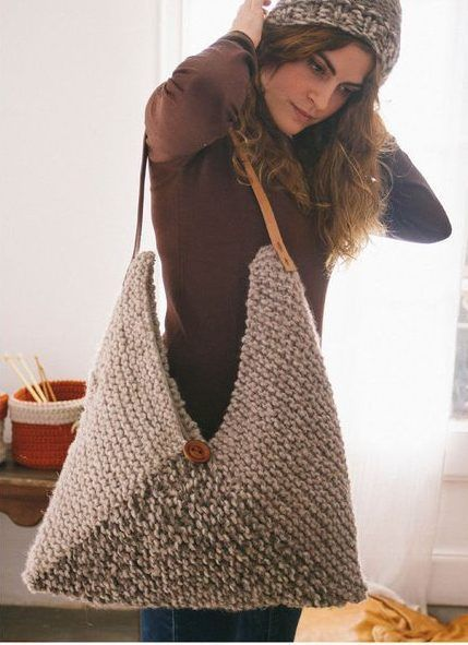 Free Knitting Pattern for North Bag - This roomy purse couldn't be simpler — just knit a large rectangle in four colors, fold, and seam! Even better, it's a quick knit in super bulky yarn.
