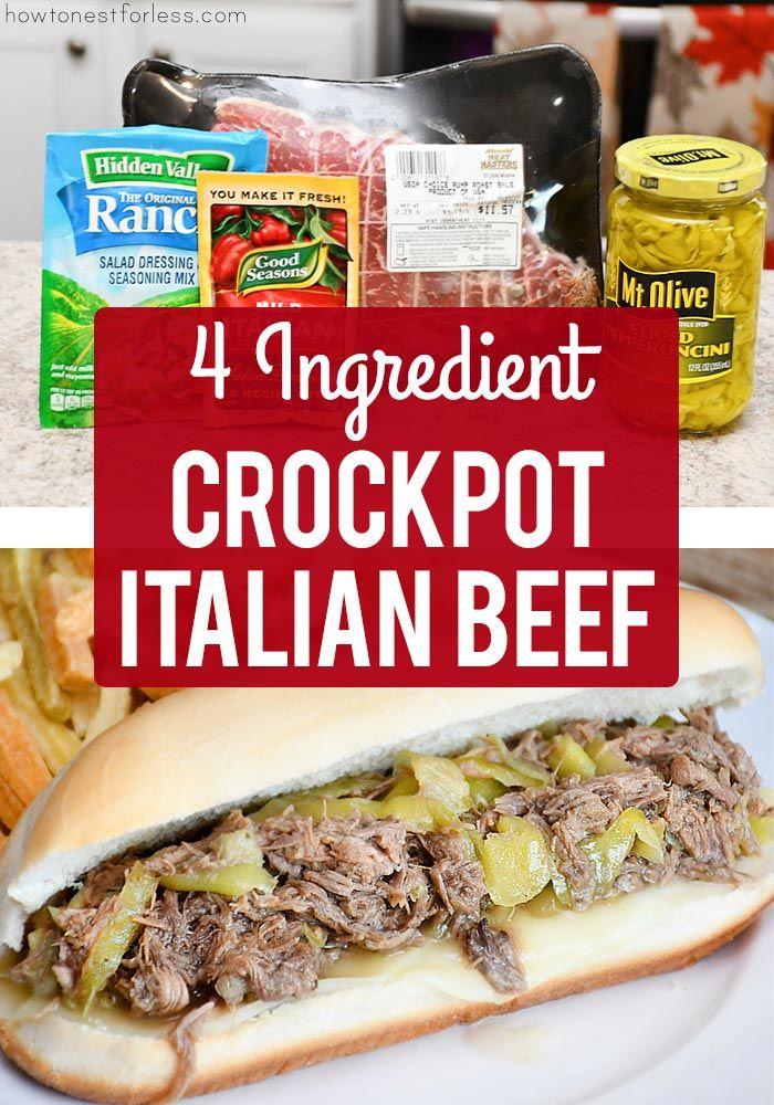 Italian Beef Crockpot Recipe Easy Slow Cooker Dinner Idea Recipe Italian Beef Crockpot Recipe Italian Beef Crockpot Crockpot Recipes Beef