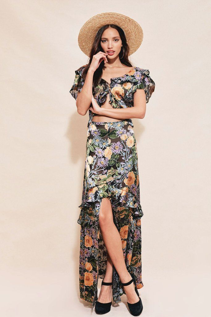FOR LOVE & LEMONS - Luciana Maxi Dress - Black Floral