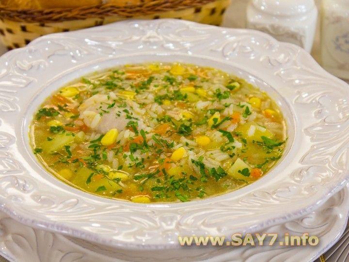 Суп с кукурузой, рисом и курицей