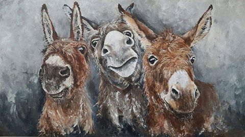 """Pieternel Elsen ~ Only Donkeys     The original painting """"Hello Again"""" is sold They are gonna make fun in the kitchen of my cliënt    So... time to make New friends   Giclées (artprints on canvas ) are available look at www.pieternel.info"""