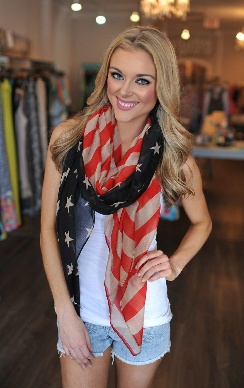 Dottie Couture Boutique - American Flag Scarf, $12.00 (http://www.dottiecouture.com/american-flag-scarf/)