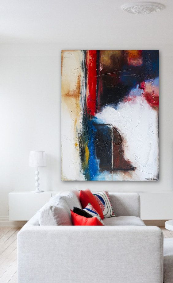 Original Abstract Acrylic Painting Modern Contemporary Art Large size 40x30x1,5 by ROSS MALYSH color blue red white