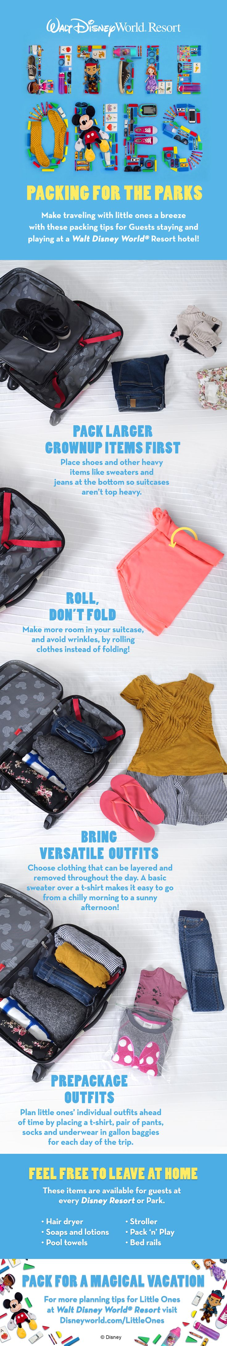 Make traveling with little ones a breeze with these packing tips for guests staying and playing at a Walt Disney World Resort hotel!