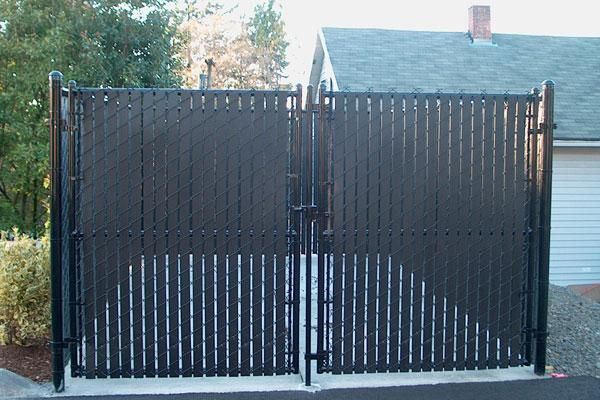 black chain link fence with privacy slats - Google Search