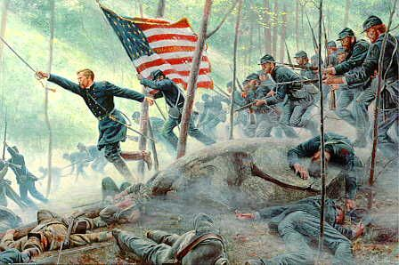 20th Maine at Little Round Top in Battle at Gettysburg