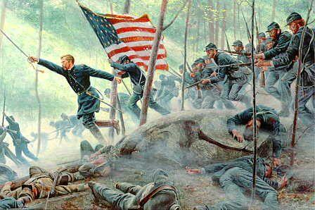 20th Maine at Little Round Top in Battle at Gettysburg