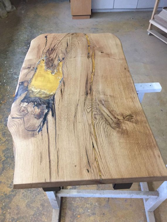 Table Oak Wood With Gold And Epoxy Resin Frame Lacquered