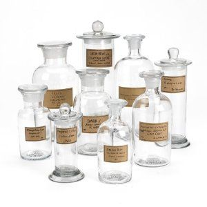 Liking this vintage-inspired apothecary jars with antiqued labels