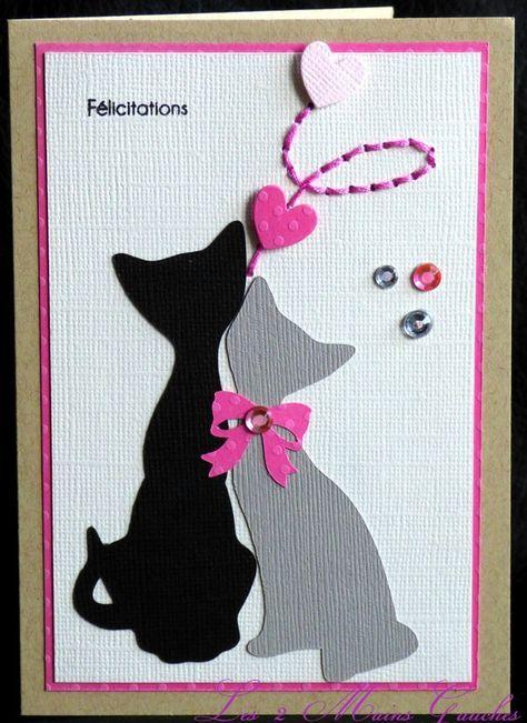 carte de félicitations avec couple de chats et touche de broderie