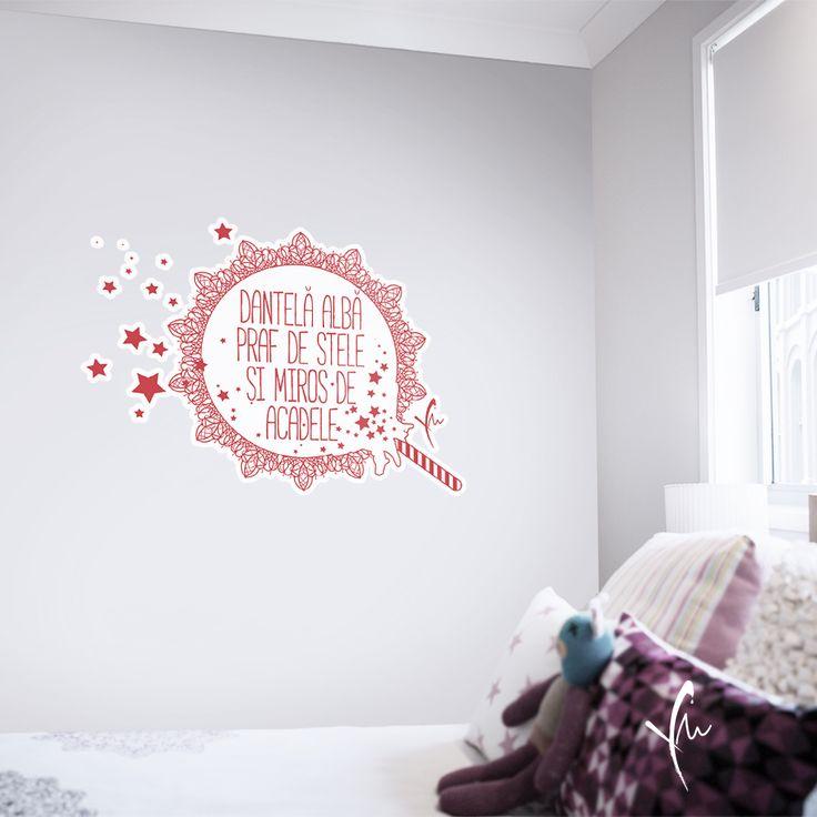 Sticker cu text imprimat: Dantela alba, praf de stele, si miros de acadele. Il gasiti la http://ya-ma.ro/produs/dantela-alba-sticker/