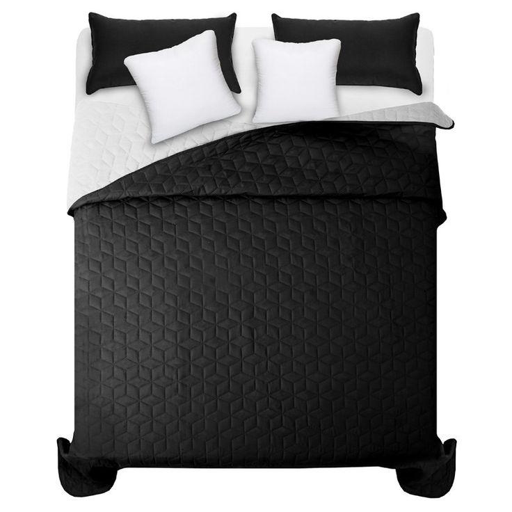 Přehozy na manželskou postel v černo bílé barvě