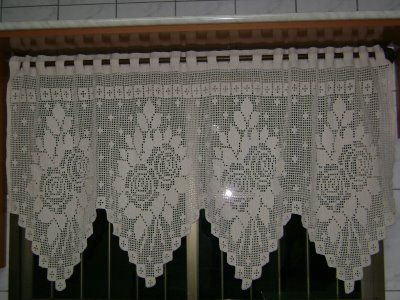 BethSteiner: Cortina de crochêCurtains, Crochet Curtains, Clear-Blue Curtains, Bandô De, Quaver, Crochet Fabric, Filet Crochet, Crochet Filet