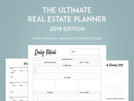 2021 Real Estate Planner Goal Setting Printables Instant Etsy Goal Setting Printable Daily Planner Template Goals Planner