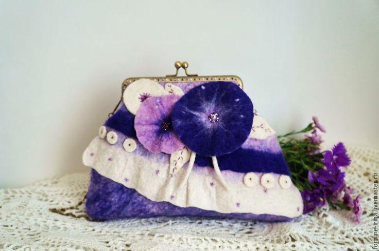 """Купить Валяная сумочка-клатч с фермуаром """"Лавандовая нежность"""" - валяная сумочка, аксессуары ручной работы"""