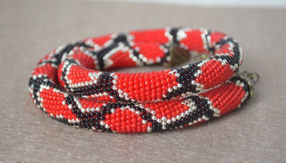 Red Snake necklace Python skin necklace Bead by IvonaHMJewelry