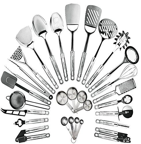 HomeHero Kitchen Cooking Utensils Set - Kitchenware 29-Pieces Stainless Steel Cookware Gadgets including Spatula, Measuring Cups and Spoons - Everything you need in one single setWith our premium 29-piece high-quality utensil set, you have everything at hand you need for cooking, no matter what dish you are planning to make. It features the most extensive selection of cooking utensils currently on the market, including but not limited ...