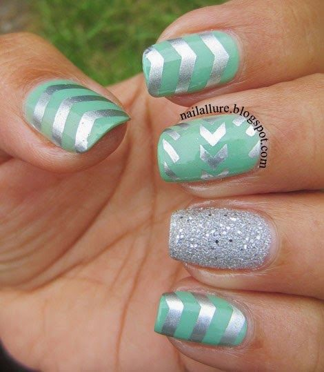My Nail Files: Mint and Silver Manicure #manicure #nailart