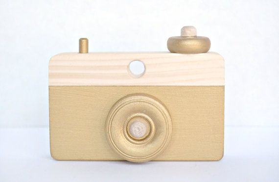 Wooden Toy Camera, Wooden Toys, Baby Shower Gift, Baby Birthday Gift, Toddler Birthday Gift, Party Favor, Gold