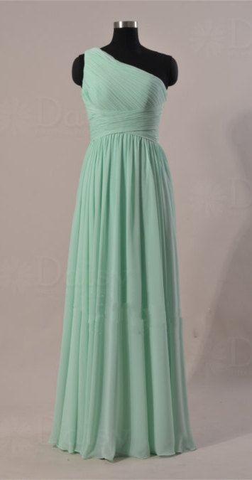 Dark Mint Bridesmaid Dress, One Shoulder Long Chiffon Bridesmaid Dress