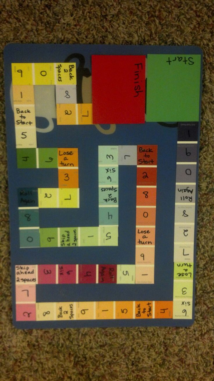I made a generic math game board from paint samples and a plastic place mat. Laminated to make it durable.