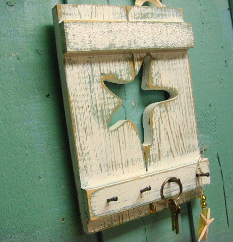 Key Rack Jewelry Rack in Weathered Shutter Wood by CastawaysHall, $34.00