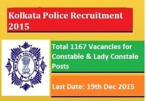 Kolkata Police Job Recruitment 2015-16 Male/Lady Constable 1167 vacancies how to Apply Online kprb.kolkatapolice.gov.in download application form last date
