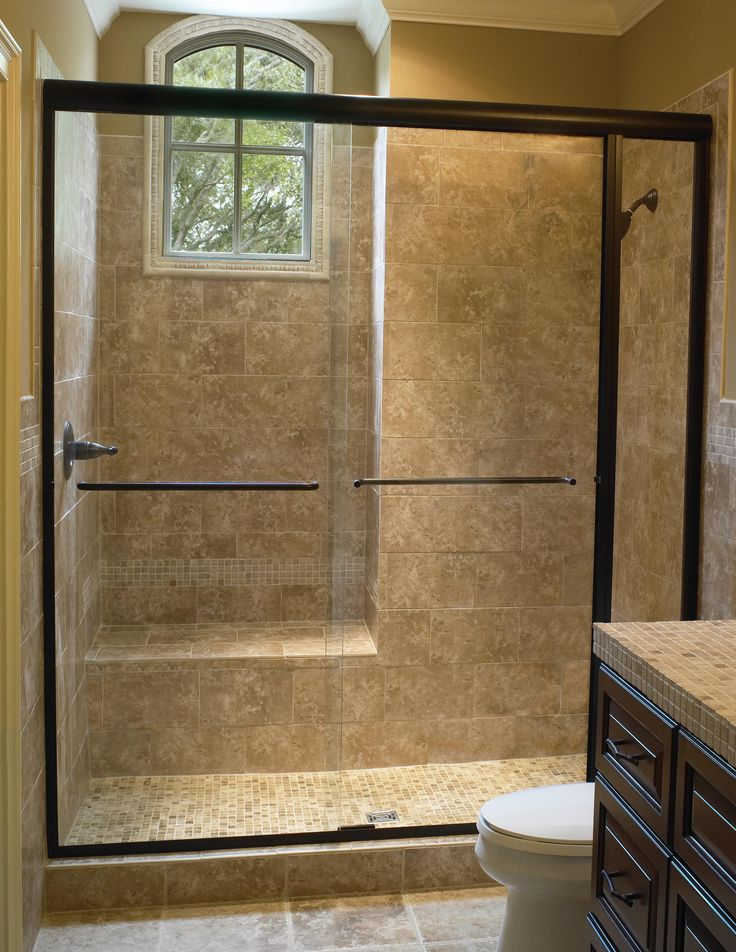 Amazing Black Polished Sliding Glass Shower Doors Frames For Brown Walk In Shower Room Added Wooden Vanities Marble Tops In Classy Guest Bathroom Ideas