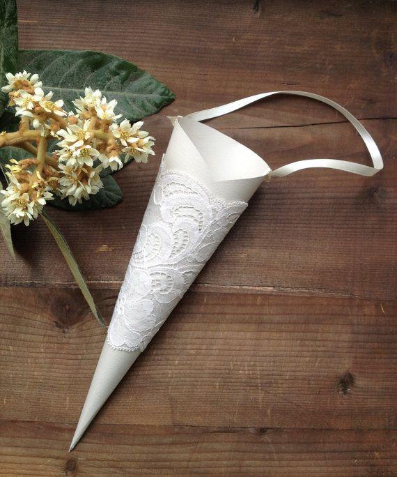 Paper Cones Wedding With Lace Flower Cone Petals Cone Treats Paper Cone R